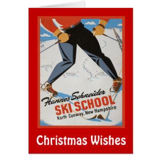 Cartes Souhaits de Noël, école de ski de Les