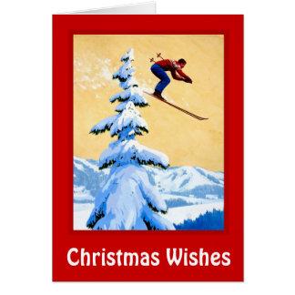 Cartes Souhaits de Noël, sauter de ski