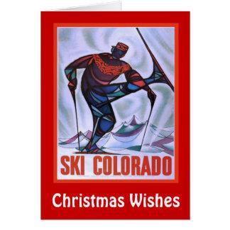 Cartes Souhaits de Noël, ski le Colorado