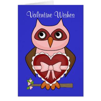 Cartes Souhaits de Saint-Valentin - hibou amical