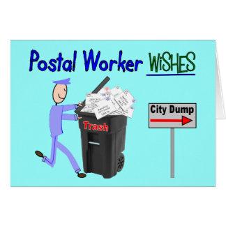 Cartes Souhaits de travailleur postal--Drôle