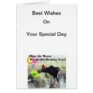 Cartes Souhaits d'orignaux sur votre anniversaire