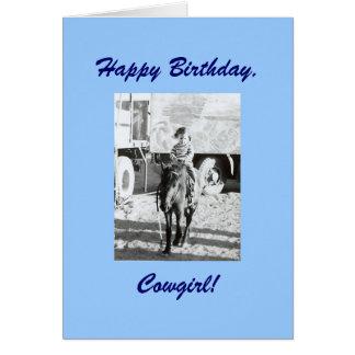 Cartes Souhaits vintages d'anniversaire de cow-girl et de