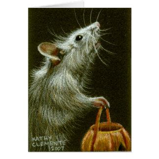 Cartes Souris avec le panier HalloweenCard de citrouille