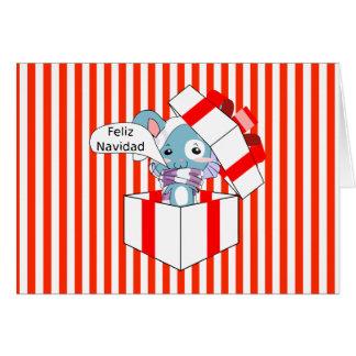 Cartes Souris de Feliz Navidad dans la boîte-cadeau