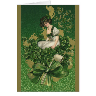 Cartes Souvenir vintage du jour de St Patrick, jeune