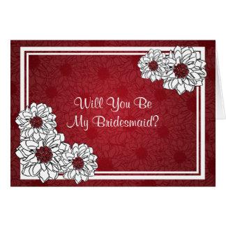 Cartes Soyez mon rouge floral de dahlia de demoiselle