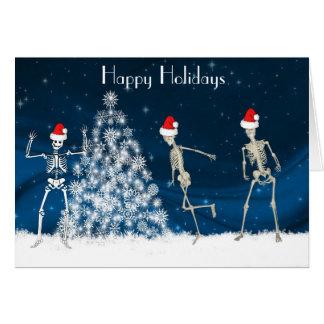 Cartes Squelettes cabriolants de Noël sur le bleu
