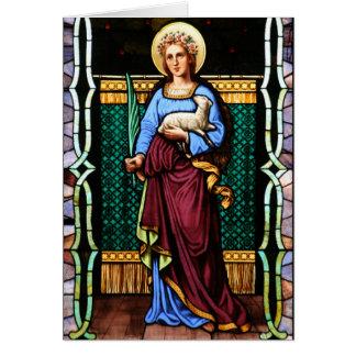 Cartes St Agnès de Rome, tenant l'agneau et la palmette