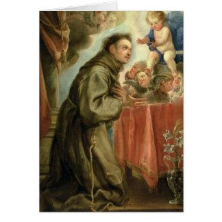 Cartes St Anthony de Padoue adorant l'enfant du Christ