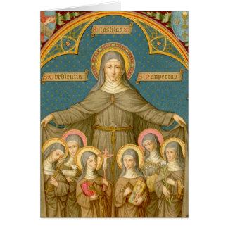 Cartes St Clare d'Assisi et de la salutation des nonnes