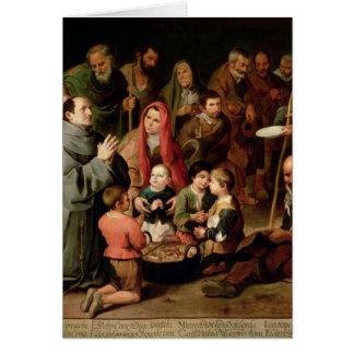 Cartes St Diego d'Alcala donnant la nourriture aux