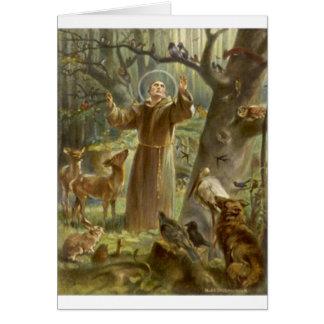 Cartes St Francis d'Assisi prêchant aux animaux