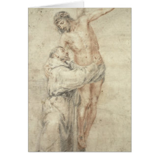 Cartes St Francis rejetant le monde et l'embrassement
