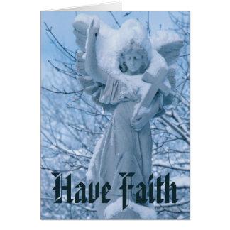 Cartes Statue d'ange dedans dehors en hiver