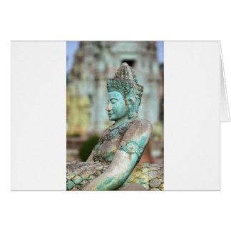 Cartes Statue verte Cambodge de Bouddha