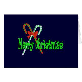 Cartes Sucres de canne de Joyeux Noël avec l'arc rouge
