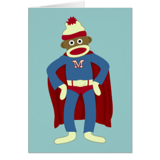 Cartes Super héros de singe de chaussette