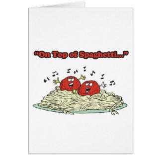 Cartes sur des boulettes de viande de chant de spaghetti