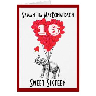 Cartes Sweet sixteen drôle d'éléphant