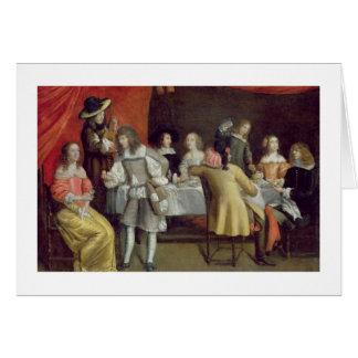 Cartes T30878 Elegant Company dinant sous un auvent rouge