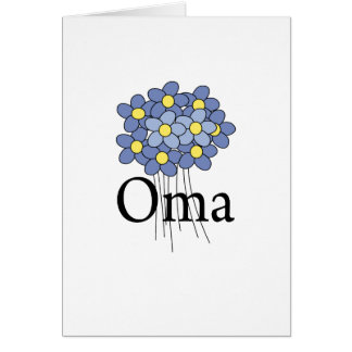 Cartes T-shirt assez bleu d'Oma de fleur