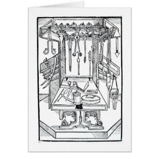 Cartes Table d'opération et instruments chirurgicaux, du