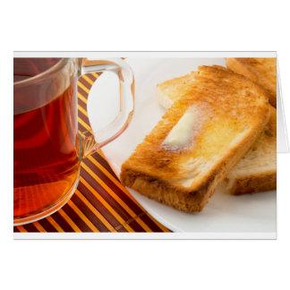 Cartes Tasse de thé et de pain grillé chaud avec du