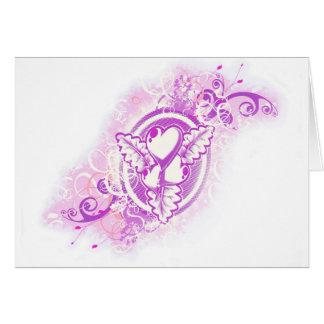 Cartes Tatouage de coeur avec des fleurs (pourpres)