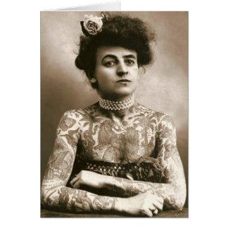 Cartes Tattoed avec des perles, photo victorienne de