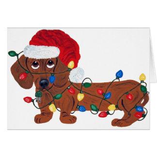 Cartes Teckel embrouillé dans des lumières de Noël