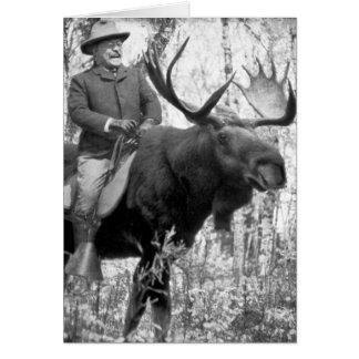 Cartes Teddy Roosevelt montant un orignal de Taureau