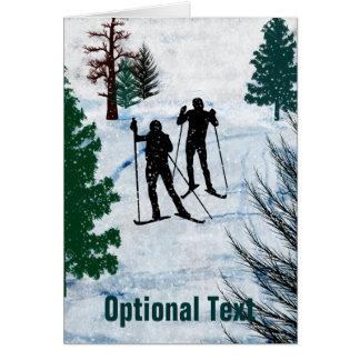 Cartes Tempête de neige de deux skieurs de pays croisé -