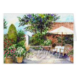 Cartes Terrasse de la peinture d'aquarelle de manoir