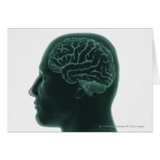 Cartes Tête humaine dans le profil montrant le cerveau