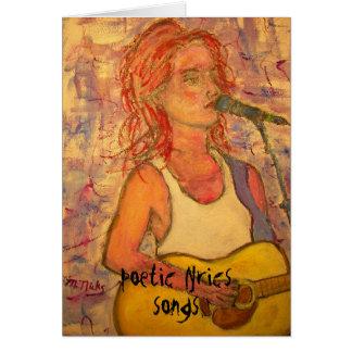 Cartes textes et art poétiques de fille de chanson