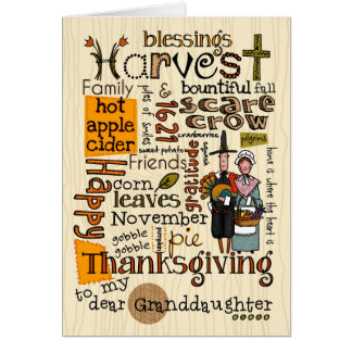Cartes Thanksgiving Wordcloud - petite-fille
