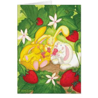Cartes Thé de lapin de fraise/carte de voeux