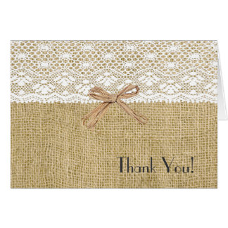 Cartes Toile de jute et Merci blanc de baby shower de