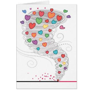 Cartes Tornade colorée Valentine de coeur