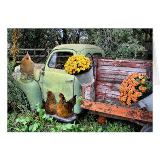Cartes Toujours la vie rurale avec des poulets