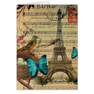 Cartes Tour Eiffel bleu de Paris de nid d'oiseau de Robin