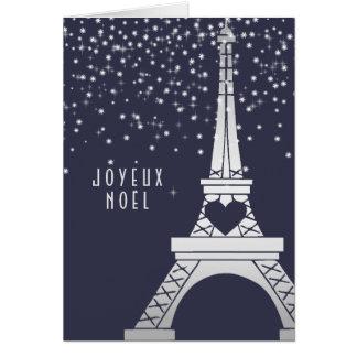 Cartes Tour Eiffel de Noël de Paris avec la neige la nuit