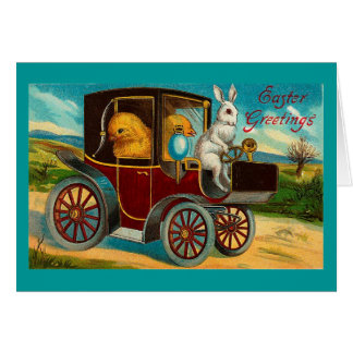 Cartes Tour vintage heureux d'automobile de Pâques