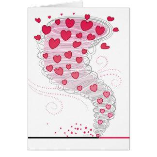 Cartes Tourbillon rouge Valentine de coeurs