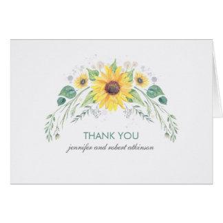 Cartes Tournesols rustiques d'aquarelle épousant le Merci