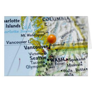 Cartes Tracez la goupille placée sur Vancouver, Canada