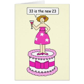 Cartes trente-troisième Humeur d'anniversaire pour elle
