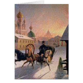 Cartes Troïka sur la rue à St Petersburg, 1850s