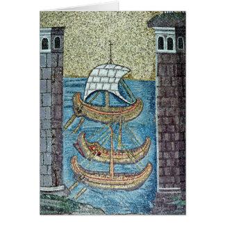 Cartes Trois bateaux entrant dans le port de Ravenne